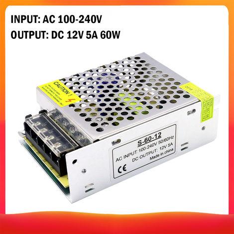 100-240 AC a DC 12V 5A 60W Transformador de voltaje regulado Switching Power-Supplys convertidor adaptador para tiras de luz para camara del ordenador de Radiocomunicaciones Proyecto