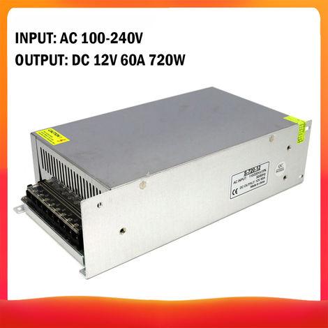 100-240 AC a DC 12V 60A 720W Transformador de voltaje regulado Switching Power-Supplys convertidor adaptador para tiras de luz para camara del ordenador de Radiocomunicaciones Proyecto
