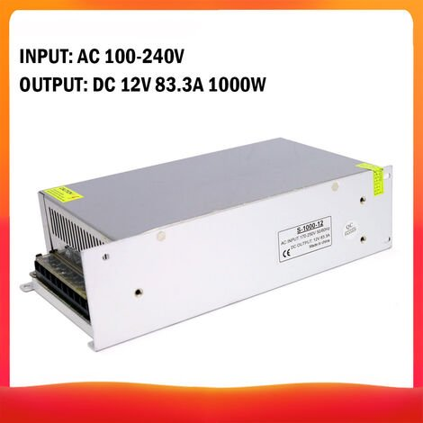 100-240 AC a DC 12V 83.3A 1000W Transformador de voltaje regulado Switching Power-Supplys convertidor adaptador para tiras de luz para camara del ordenador Radio proyecto, DC 12V 83.3A 1000W