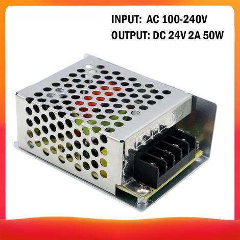 100-240 AC a DC 24V 2A 50W Transformador de voltaje regulado Switching Power-Supplys convertidor adaptador para tiras de luz para camara del ordenador de Radiocomunicaciones Proyecto