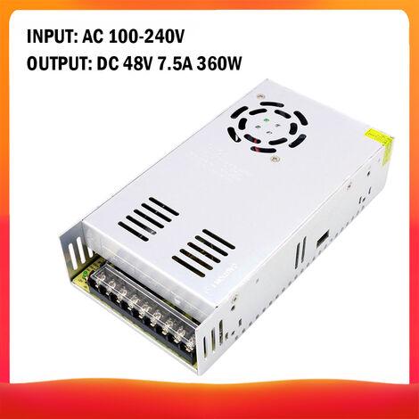 100-240 AC a DC 48V 7.5A 360W Transformador de voltaje regulado Switching Power-Supplys convertidor adaptador para tiras de luz para camara del ordenador de Radiocomunicaciones Proyecto