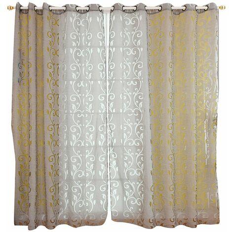 100 * 250cm rideau perfore d'une seule piece, rideau de partition de motif de silhouette de vigne, ecran de fenetre d'hotel de chambre a coucher de salon gris