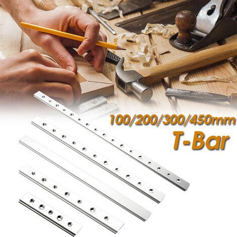 100-450mm T-Track Fente à onglet Barre coulissante Alliage Outil de travail du bois Slider Table Scie 100mm T glissière sans trous Barre en T 0,1 m de type A