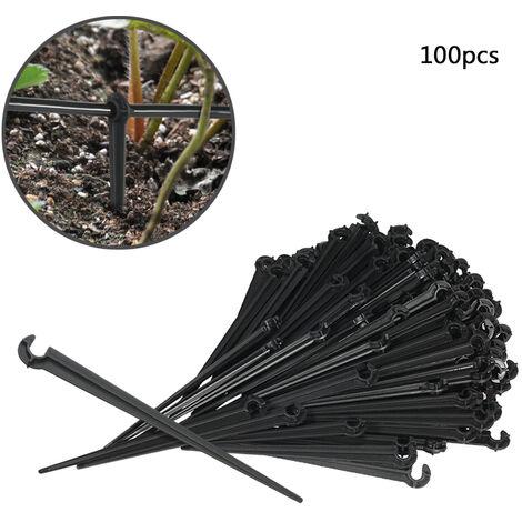 """main image of """"100 accessoires d'irrigation goutte agoutte micro-spray, prise de terre support capillaire 4 / 7mm, support de type C, support de jardin, support de poteau fixe"""""""