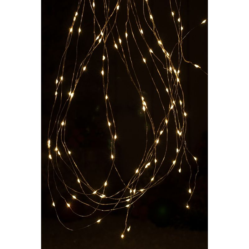 Image of 100 Battery Operated Drewdrop Christmas lights with Timer - Warm White