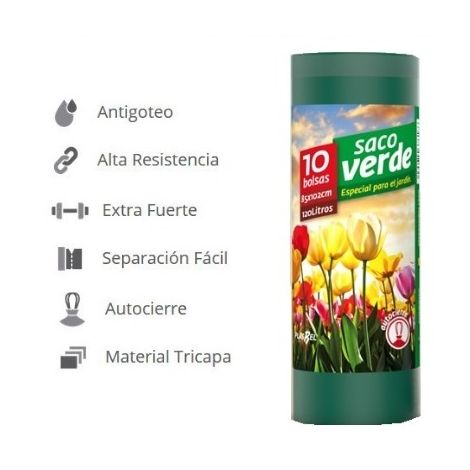 100 Bolsas de Basura para Jardín SACO VERDE 120 litros