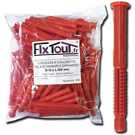 100 chevilles à collerette P.E à quadruple expansion type nœud D. 12 x L. 120 mm (D. 12 mm) - multi-matériaux - Fixtout - -