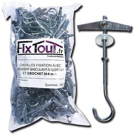 100 chevilles fixation avec segment basculant à ressort et crochet M4 mm (D. 18 mm) - Fixtout