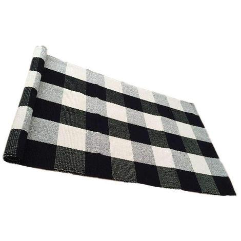 100% coton tapis Buffalo tapis à carreaux noir / blanc tapis à carreaux à carreaux cuisine / salle de bain / entrée / buanderie / chambre 24''x51 ''