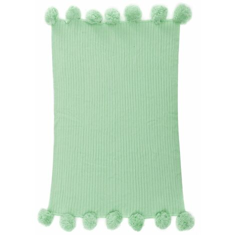 """main image of """"100% Cotton Knitted Blanket Soft Rug Bed Sofa Reversible Pom Throw Baby Crochet WASHING - Vert clair"""""""