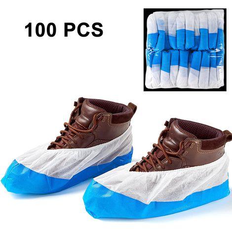 100 Couvre-chaussures / Couvre-chaussures Protecteurs de bottes, Semelle antidérapante de qualité supérieure, extra solide, épaisse, étanche aux liquides, sans frustration, jetable (paquet de 100 couvre-chaussures)