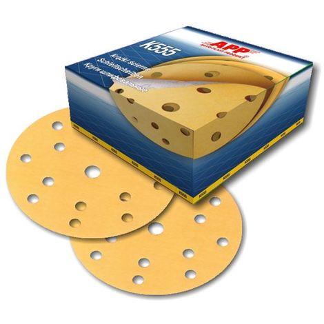 100 disques abrasif sur velcro grain 220 format 150mm 14+1 trous