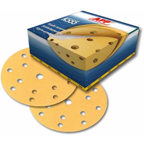 100 disques abrasif sur velcro grain 500 format 150mm 14+1 trous
