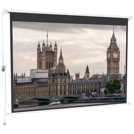 "main image of ""100"" Electric Projector Screen Motorised Matte White HD 16:9 School Home Cinema"""