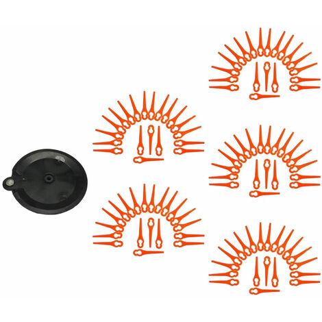 100 lames de rechange, couteaux, pointes de coupe, lames en plastique avec disque de coupe, convient au tondeuse de jardin sans fil FAT 18 B2 - LIDL IAN 71315