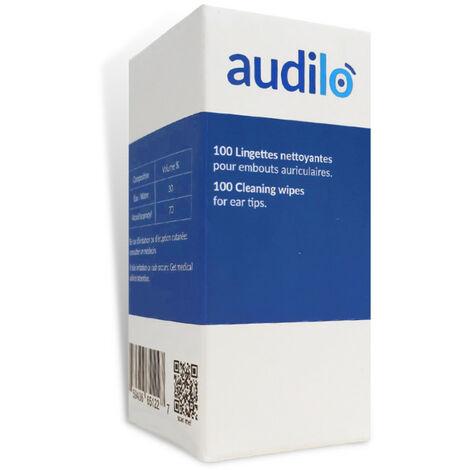 100 Lingettes nettoyantes & Désinfectantes pour embouts Auriculaires de Audilo