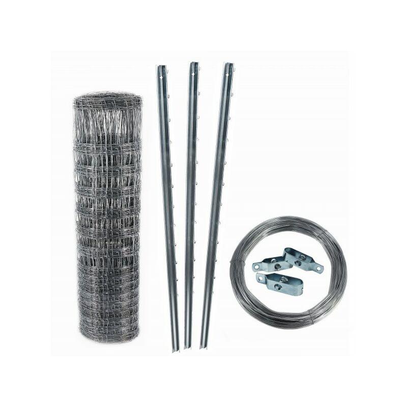 100 m clôture de protection contre la faune sauvage, clôture forestière, grillage noué 100/10/30+ poteaux + fil de tension