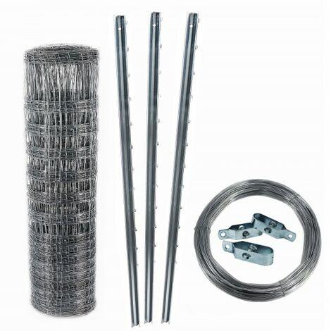 100 m clôture de protection contre la faune sauvage, clôture forestière, grillage noué 150/12/30+ poteaux + fil de tension