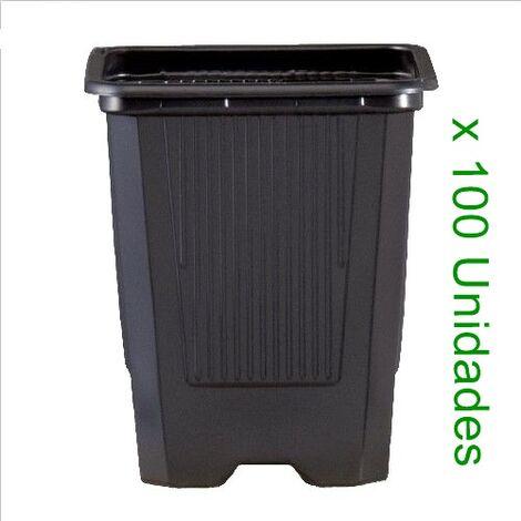 100 Macetas Semillero Cuadrada de Plástico para Cultivo. 9X9X9,5 Cm (0,52 L)