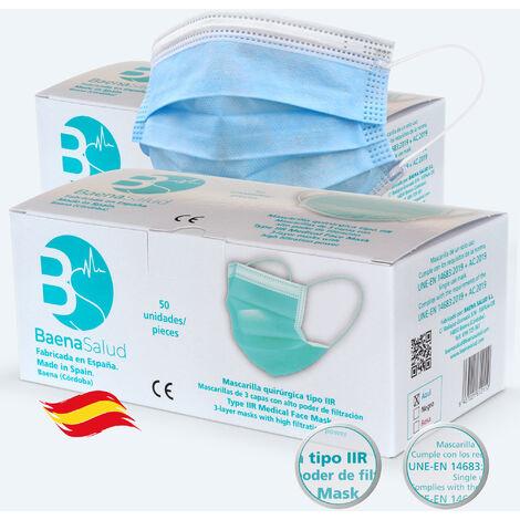 100 Mascarillas higiénicas mascarillas Quirúrgicas desechables, Tipo IIR, en color azul, filtración (BFE) 98%, hechas en España