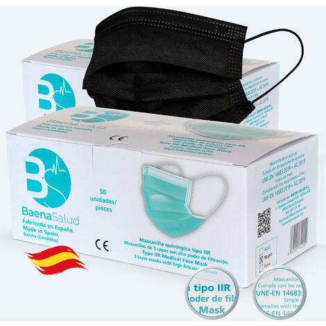 100 Mascarillas higiénicas mascarillas Quirúrgicas desechables, Tipo IIR, en color negro, filtración (BFE) 98%, hechas en España