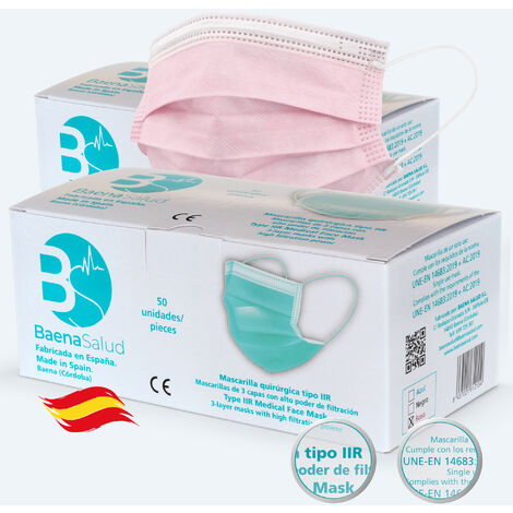 100 Mascarillas higiénicas mascarillas Quirúrgicas desechables, Tipo IIR, en color rosa, filtración (BFE) 98%, hechas en España