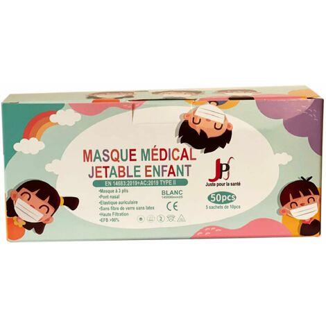 100 Masques chirurgicaux jetables pour Enfants : Type 2 - 98 % de filtration