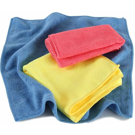 100 microfibre cloths - cleaning cloth, dusting cloth, polishing cloth - colorful