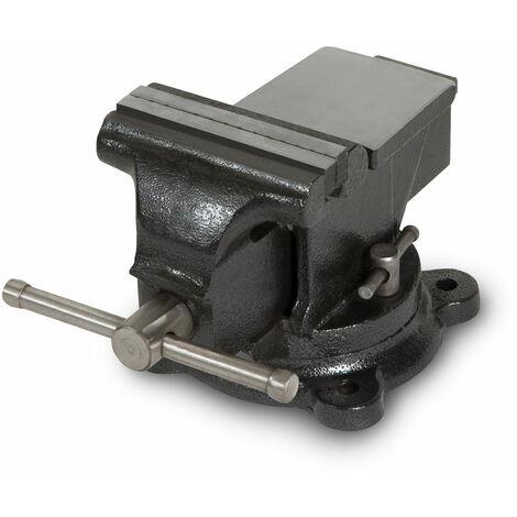 100 mm Tornillo de banco con Yunque (100 mm Ancho de la mordaza, 360° Plato giratoria, Acero fundido)