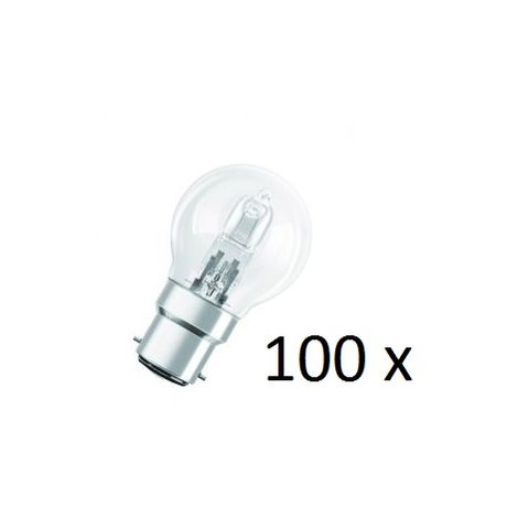 100 Osram Halogen BC-B22 Eco Classic 42W Energy Saver Golf Ball Shape Light Bulb