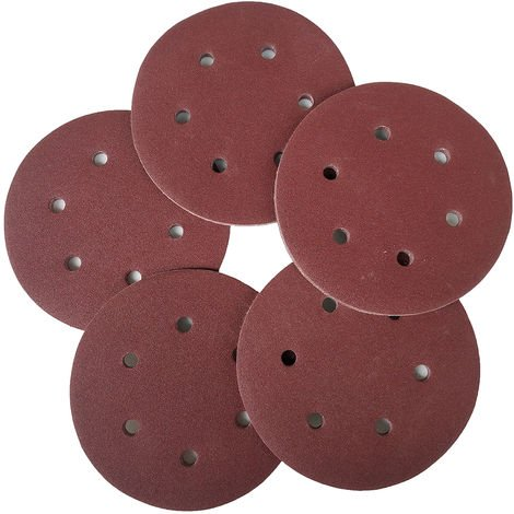 100 PCS, 125 mm Hook Loop Papel de lija, con 8 Agujero de arena Pad Set, 1000 Grit