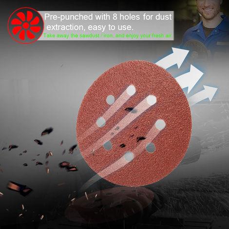 100 PCS 125mm Hook Loop Papel de lija con 8 Herramientas agujero de arena Pad Set lijadora de disco abrasivos de grano 600