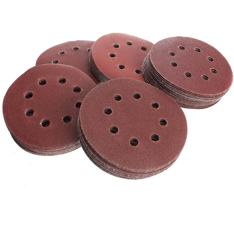"""main image of """"100 Pcs 5 Inches 125Mm Round Mixed Sandpaper 60 80 100 120 240 Grit Orbital Disc 8-Sheets Sand Sheets Hook Sanding Polishing Disc"""""""
