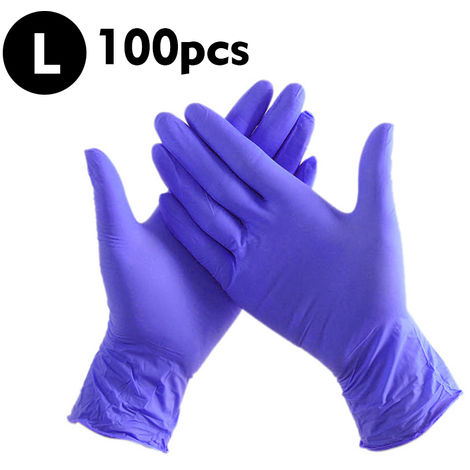 100 PCS Disposable Industrial Nitrile Gloves Latex Free Powder FreeTextured, Size L, Blue