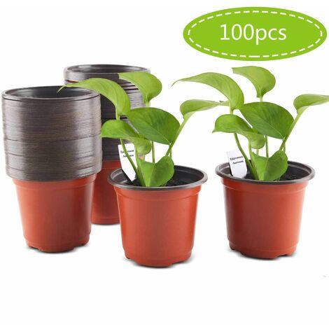 100 Pcs Plastic Plant Pots, 10cm Plastic Seedling Flower Pots with Labels Plants Nurseries Flower Plant Container