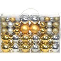 100 Piece Christmas Ball Set 6 cm Silver/Gold