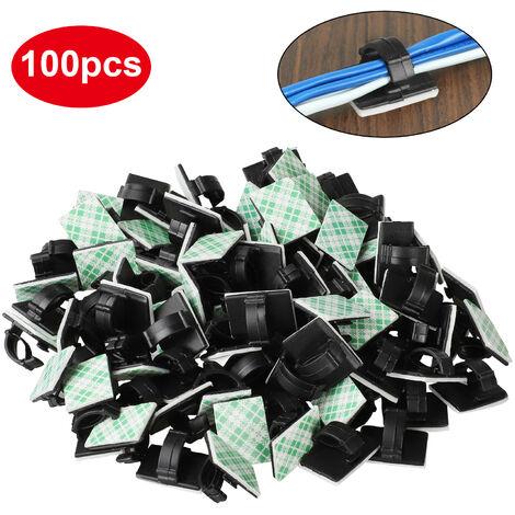 (100 pièces) Clips de câble adhésifs Organisateur de gestion de fil de câble de voiture, clips de cordon, clips de fil électrique, support d'attache de câble pour voiture, bureau et maison, 19 * 14mm
