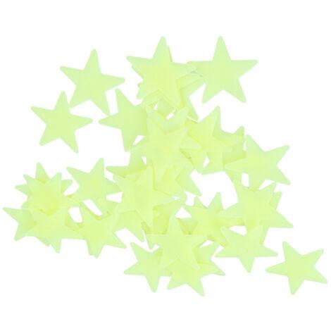 100 pieces d'autocollants etoiles lumineux de 3 cm autocollants fluorescents autocollants muraux tridimensionnels 3D feuilles de plastique lumineuses, vert