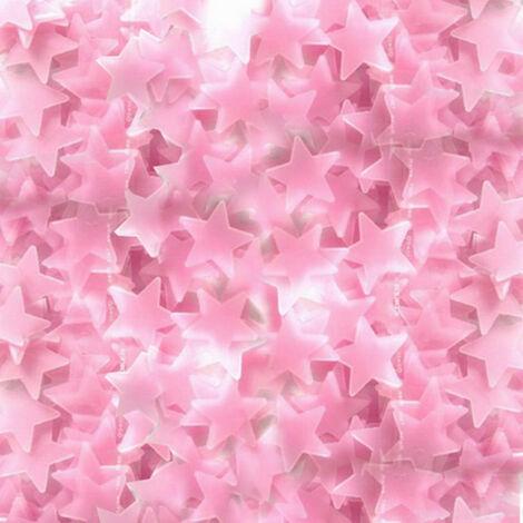 100 pieces de 3cm autocollants etoiles lumineuses autocollants fluorescents autocollants muraux stereo 3D feuille de plastique lumineuse rose