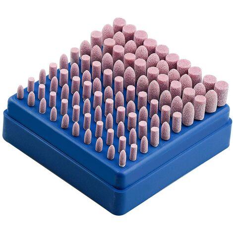 100 piezas de pulido abrasivo de piedra montada herramienta giratoria muela para herramientas rotativas Dremel vástago de 3 mm
