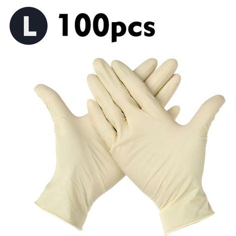100 piezas, guantes desechables, guantes elasticos de latex sin polvo,L,Beige