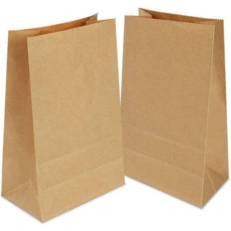 100 Sac Papier Kraft, 9 x 18 x5.5 cm Petit Sachet Papier,Sacs Cadeaux 100% en Papier Kraft recyclé (Brun)