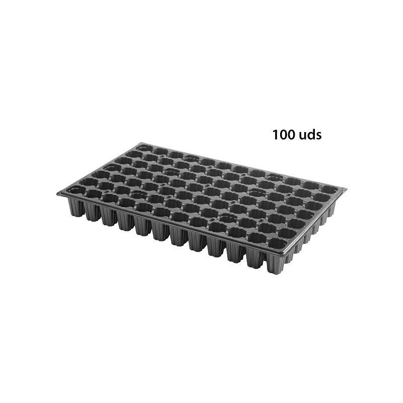 100 Semilleros de Plástico Negro Bandeja para Plantar Semillas - 84 huecos