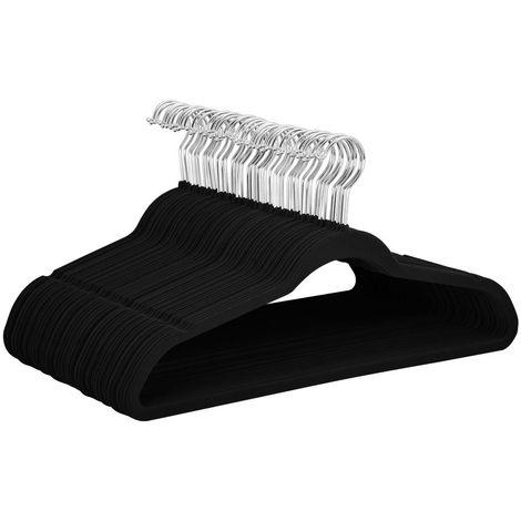 100 Stück samt Kleiderbügel Anti-Rutsch Anzugbügel mit Rutschfeste Oberfläche Garderobenbügel schwarz