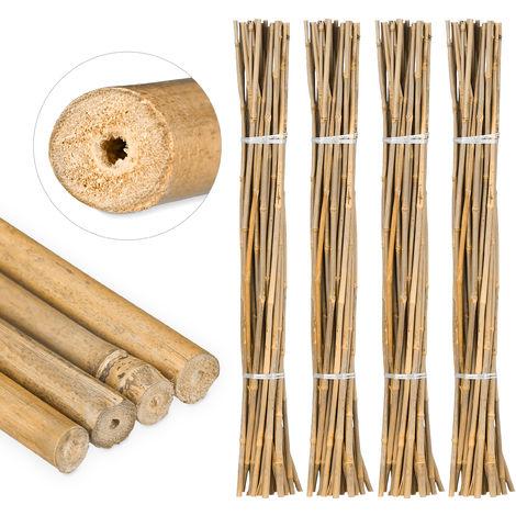 100 Varas de Bambú, Tutores para Plantas, Bambú Natural, 105 cm