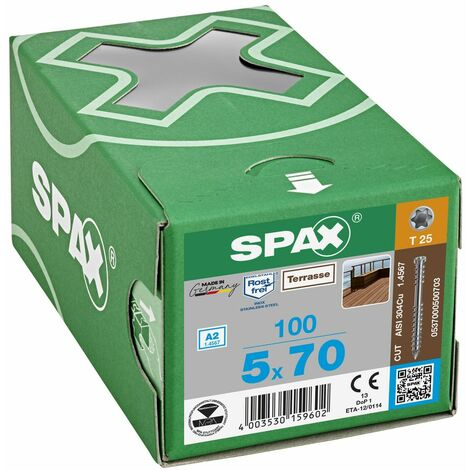 100 Vis Torx autoforeuse 5x70 Spax-deck inox A2 - Terrasse bois éxotique