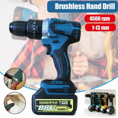100 (W) 13mm High Power Rechargeable Industrial Drill Brushless Impact 4500RPM High Power Drill 23-48 (n * m) Without battery?(yellow, bare brushless machine)