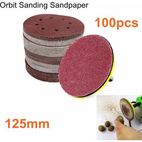 "main image of ""100 x 125MM 5' SANDING DISCS SANDPAPER 60 80 100 120 240 GRIT ORBIT SANDER PAD"""