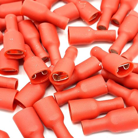 100 x 2.8x0.8mm Red Fully Insulated Female Push-On Disconnects Terminals