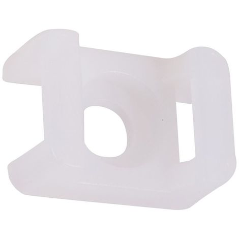 100 x Cable Tie Saddle Mounts Holders For Max 5mm Ties White 15x10mm